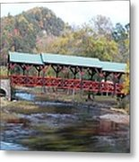 Tellico Bridge In Fall Metal Print