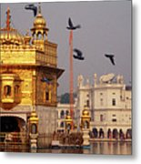 Temple At The Waterfront, Golden Metal Print