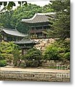 Temple By Lake And Forest Seoul South Korea Metal Print