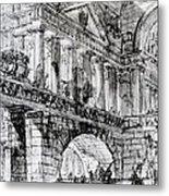 Temple Courtyard Metal Print by Giovanni Battista Piranesi