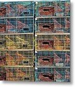 Ten Lobster Traps Metal Print