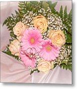 Tender Bridal Bouquet Witn Wedding Rings Metal Print