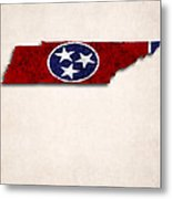 Tennessee Map Art With Flag Design Metal Print