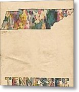Tennessee Map Vintage Watercolor Metal Print