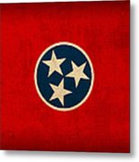 Tennessee State Flag Art On Worn Canvas Metal Print