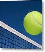 Tennis Ball And Net Metal Print by Joe Belanger