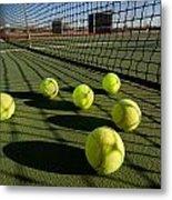 Tennis Balls And Court Metal Print by Joe Belanger