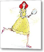 Tennis Lady Metal Print