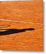 Tennis Player Shadow On A Clay Tennis Court Metal Print