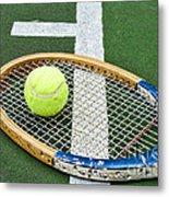 Tennis - Wooden Tennis Racquet Metal Print