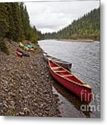 Tents And Canoes At Mcquesten River Yukon Canada Metal Print