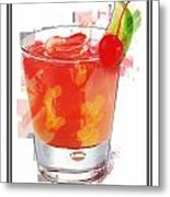 Tequila Sunrise Cocktail Marker Sketch Metal Print