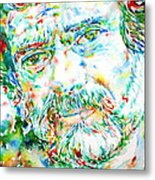 Terence Mckenna - Watercolor Portrait Metal Print