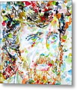 Terence Mckenna - Watercolor Portrait.3 Metal Print