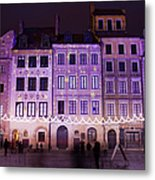 Terraced Historic Houses At Night In Warsaw Metal Print