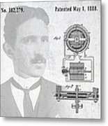 Tesla And The Electro Magnetic Motor Patent Metal Print