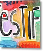 Testify Greeting Card- Colorful Painting Metal Print