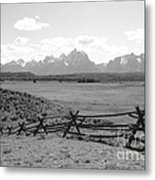 Teton Landscape With Fence - Black And White Metal Print