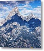 Teton Range And Two Trees Metal Print