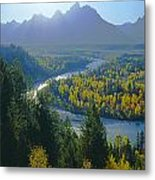 2m9301-teton Range From Snake River Overlook Metal Print