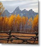 1m9354-teton Range In Autumn From Jackson Hole Ranch Country Metal Print