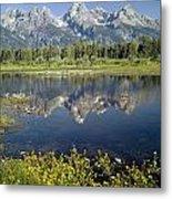 4m9310-teton Range Reflection, Blacktail Pond, Wy Metal Print