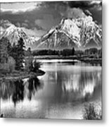 Tetons In Black And White Metal Print