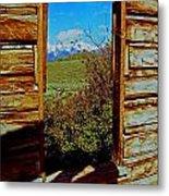 Tetons Through Log House Window Metal Print