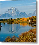 Tetons With Moose Metal Print