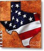 Texas American Flag Map Metal Print