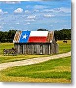 Texas Barn Flag Metal Print