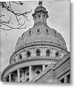 Texas Capital Dome In Monochrome Metal Print