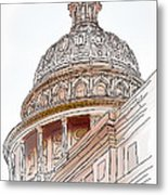 Texas Capitol Sketch Metal Print