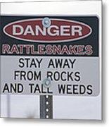 Texas Danger Rattle Snakes Signage Metal Print