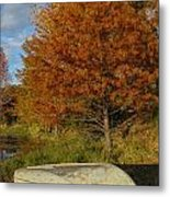 Texas Fall Color With Boat Metal Print