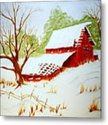 Texas Red Barn Metal Print