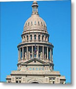 Texas State Capitol With Six Flags Metal Print