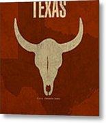 Texas State Facts Minimalist Movie Poster Art  Metal Print