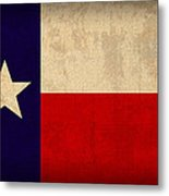 Texas State Flag Lone Star State Art On Worn Canvas Metal Print