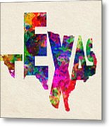 Texas Typographic Watercolor Flag Metal Print