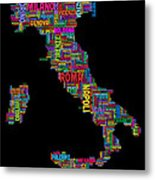 Text Map Of Italy Map Metal Print