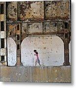 Texting Girl W/ Viaduct Metal Print by Joe Kotas