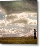 Texting On The Edge Metal Print