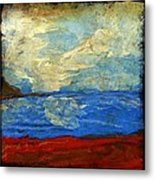 Textured Beach Scene Painting Fine Art Print Metal Print by Laura Carter