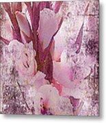 Textured Pink Gladiolas Metal Print