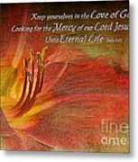 Textured Red Daylily With Verse Metal Print