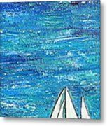 Textured Sea With Sailboat Metal Print by Lauretta Curtis