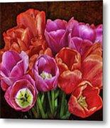 Textured Tulips Metal Print