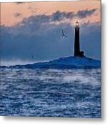Thacher Island Lighthouse Seagull Passes Metal Print