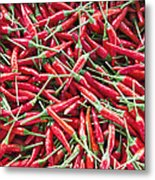 Thai Chili Peppers Background Metal Print